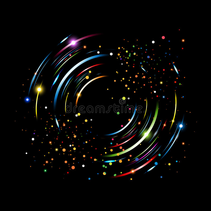 Circular rotation of colorful lines on black background. Circular motion of colored lines on black background royalty free illustration