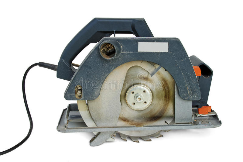 Circular saw. Real working electric circular saw isolated royalty free stock images