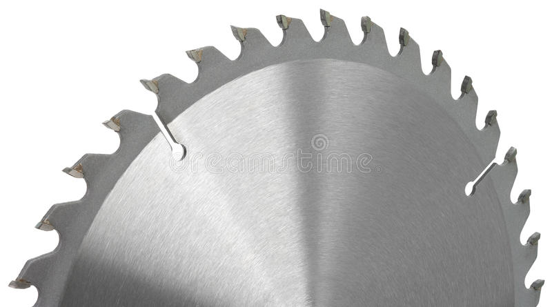 Circular saw. Part of the disk of a circular saw. The entire object in focus. Object is isolated on white background without shadows royalty free stock photo
