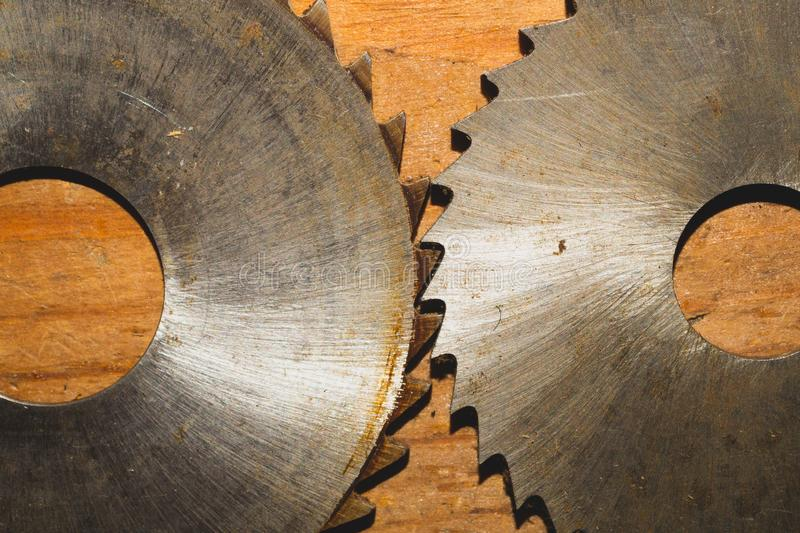 Circular saw. carpentry tools. industrial background. equipment for sawmill and sawing wooden products. Circular saw blade. carpentry tools. industrial stock photo