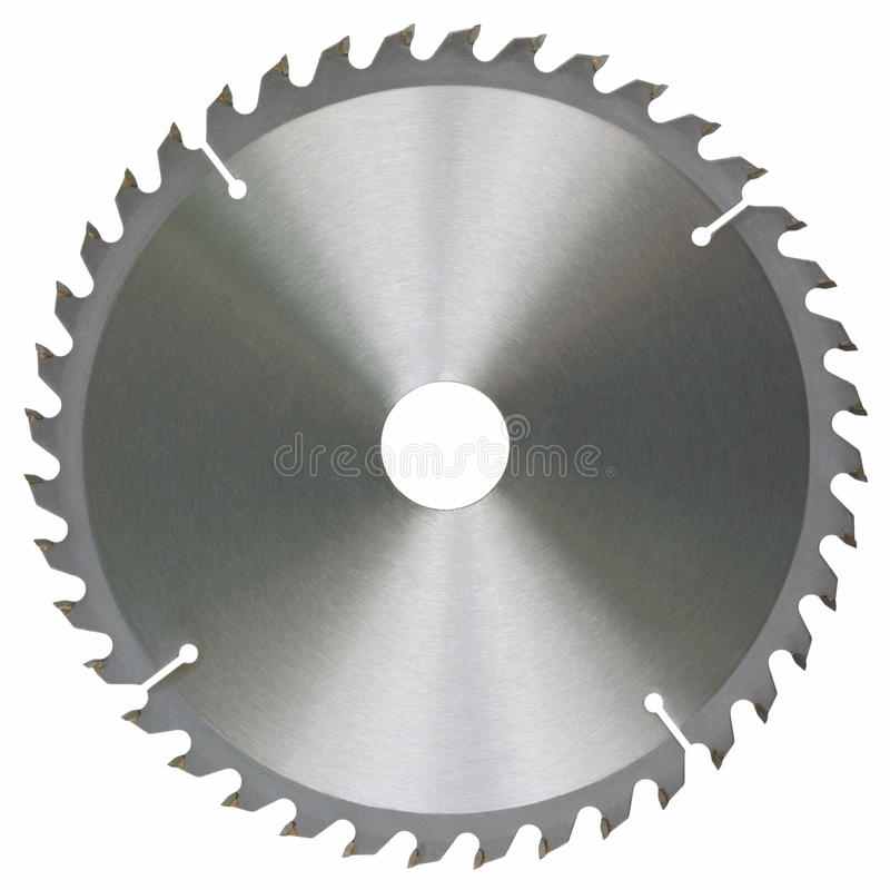Circular saw. Blade for universal work wood. Object is isolated on white background without shadows stock photography