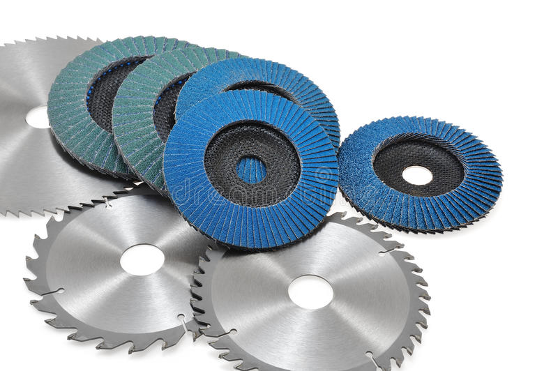 Circular saw blades and abrasive disks isolated o. N white background royalty free stock photography
