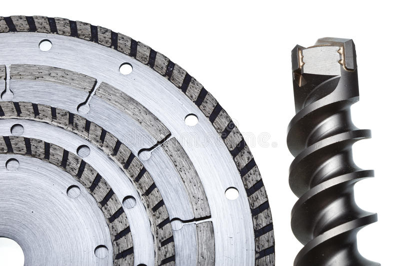 Circular Saw blades and drill of the big diameter stock image