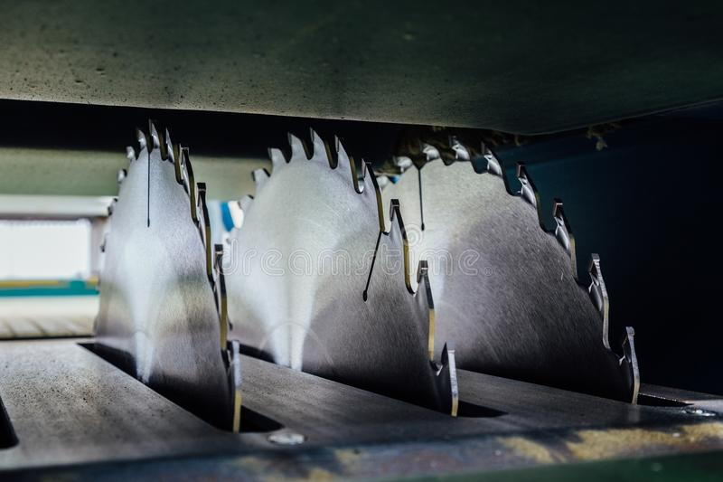 Circular saw blades of woodworking machine tool. Close-up view stock photos