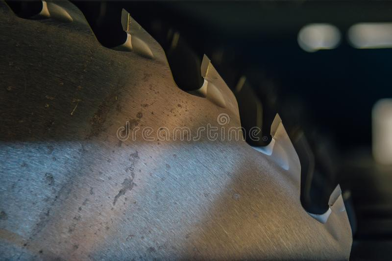 Circular saw blades of woodworking machine tool. Close-up view royalty free stock photo