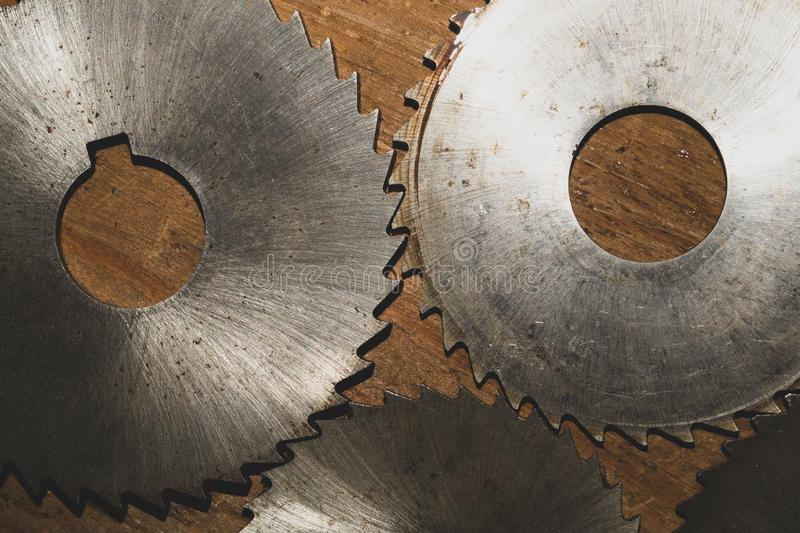 Circular saw. carpentry tools. industrial background. equipment for sawmill and sawing wooden products. Circular saw blades. carpentry tools. industrial stock photos