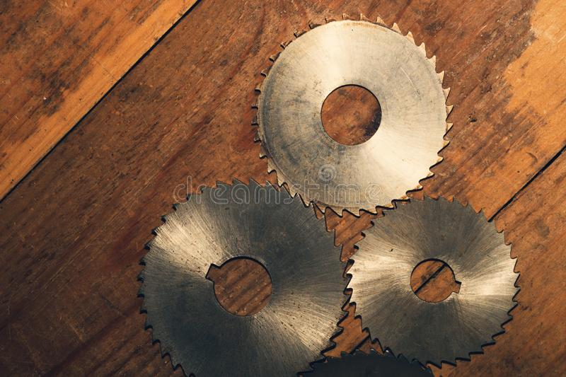 Circular saw. carpentry tools. industrial background. equipment for sawmill and sawing wooden products. Circular saw blades. carpentry tools. industrial royalty free stock images