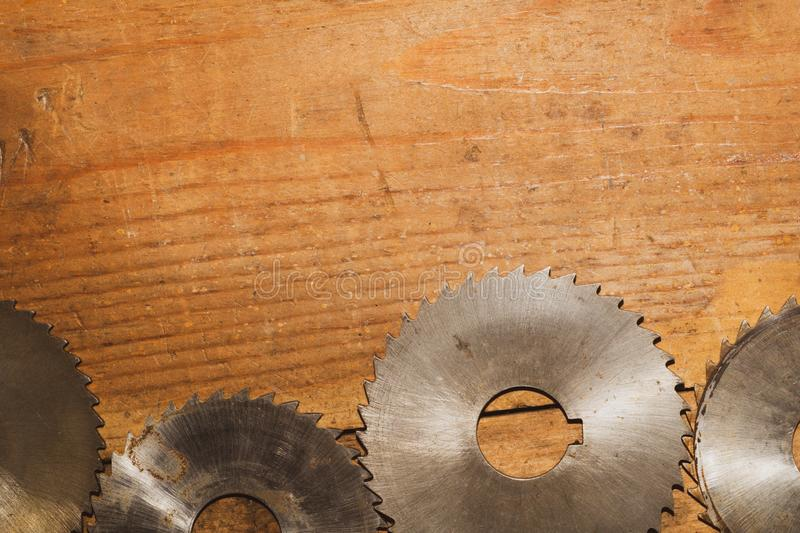 Circular saw. carpentry tools. industrial background. equipment for sawmill and sawing wooden products. Circular saw blades. carpentry tools. industrial royalty free stock image