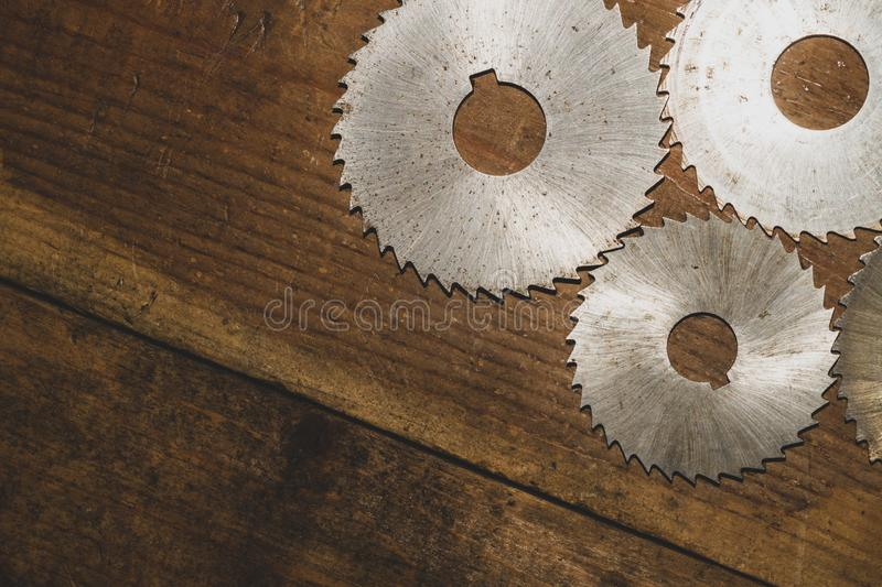 Circular saw. carpentry tools. industrial background. equipment for sawmill and sawing wooden products. Circular saw blades. carpentry tools. industrial royalty free stock photos