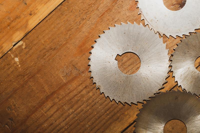 Circular saw. carpentry tools. industrial background. equipment for sawmill and sawing wooden products. Circular saw blades. carpentry tools. industrial stock photo
