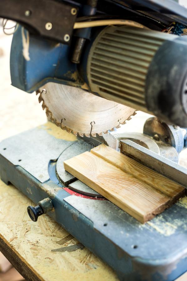 Circular saw close up. Tool for carpentry workshop. Work tool. Wood processing stock photo