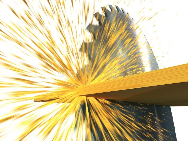 Circular saw cuts wood. 3d render vector illustration