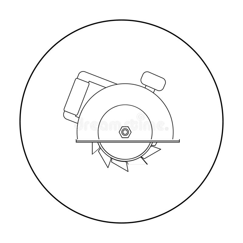 Circular saw icon in outline style isolated on white background. Build and repair symbol stock vector illustration. Circular saw icon in outline style isolated royalty free illustration