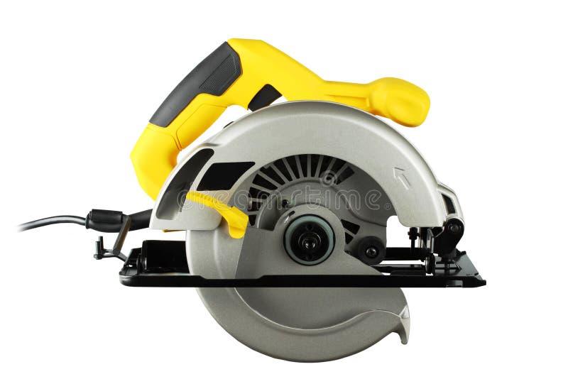 Circular saw. New, powerful circular saw on white background stock photo