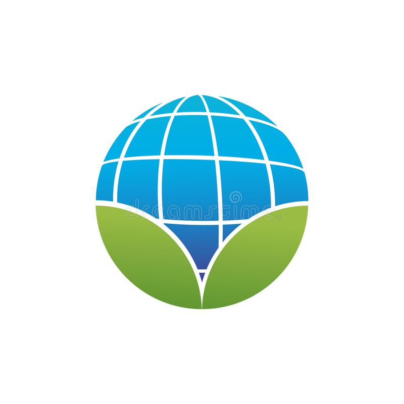 circular shape of blue planet earth or globe with two green leafs, abstract logo icon, ecology related. vector illustration stock illustration