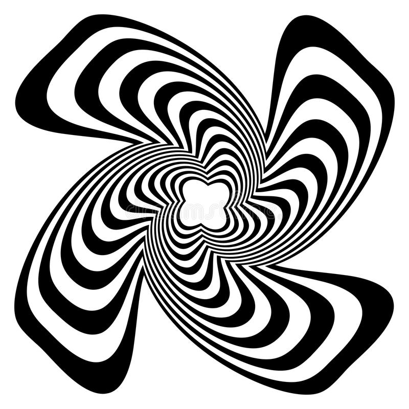 Circular shape with spiral, vortex distortion effect. Black and white rotating circular, concentric element.- Royalty free vector illustration royalty free illustration