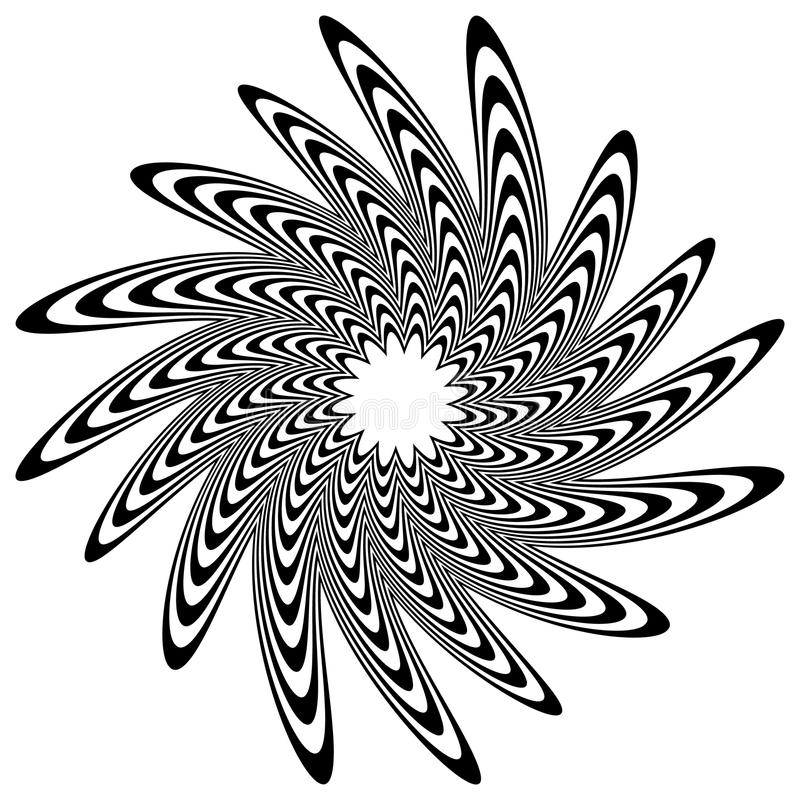 Circular shape with spiral, vortex distortion effect. Black and white rotating circular, concentric element.- Royalty free vector illustration vector illustration