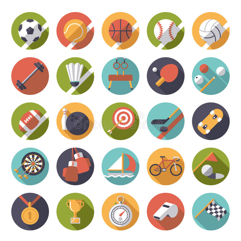 Circular sports icons flat design vector set. Collection of 25 flat design sports and gymnastics vector icons in circles royalty free illustration