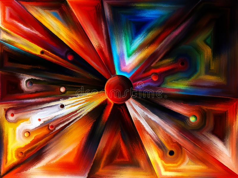 Circular stained glass design. Stained Glass Revisited series. Study of space division and element coloring on the subject of design, creativity and modern art royalty free stock photos