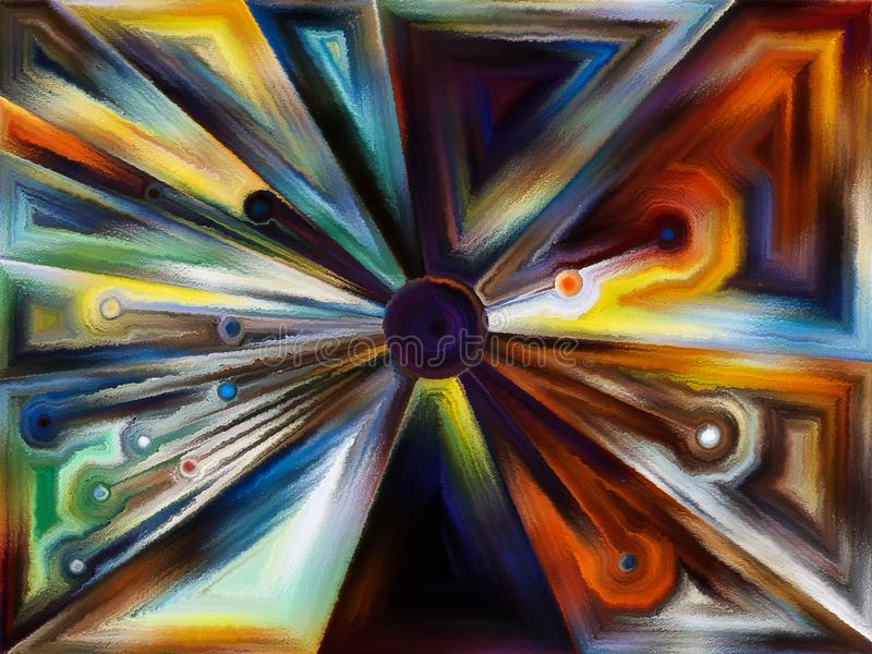 Circular stained glass design. Stained Glass Revisited series. Study of space division and element coloring on the subject of design, creativity and modern art royalty free stock image