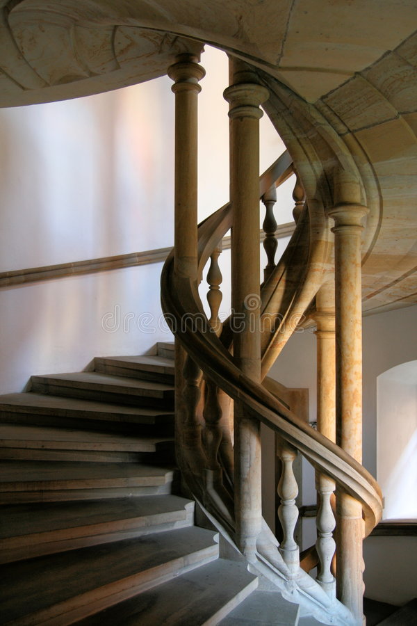 Circular stair. The stone circular stair in the castle stock photography