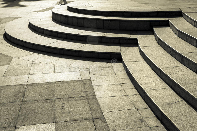 Circular stair in dark. Details of stone circular stair stock image