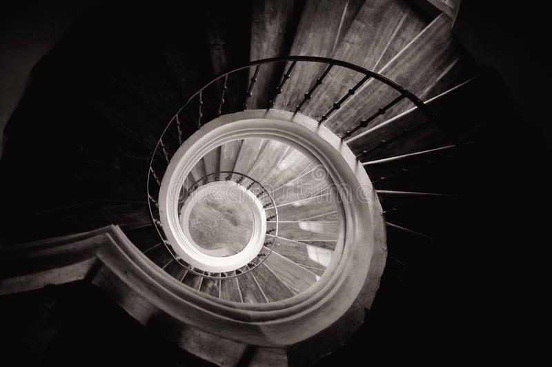 Circular staircase. In cistercian monastery, Sedlec in Kutna Hora stock image