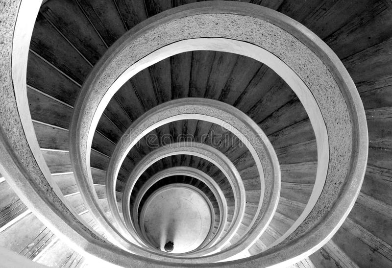 Circular stairs. In temple. Black/white stock photography