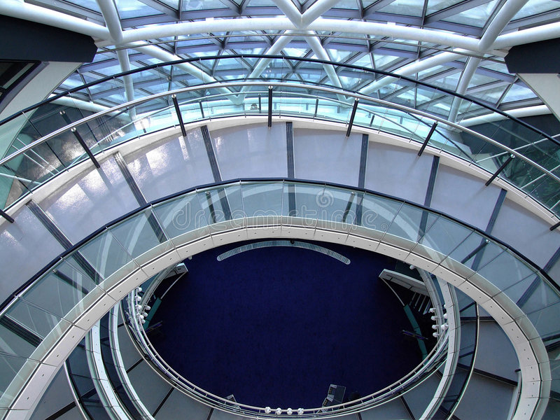 Circular stairs. Circular stairway made from metal and glass royalty free stock photos