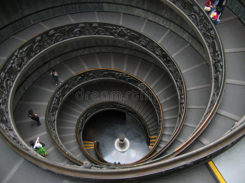 Circular Stairway in The Vatican - Rome, Italy royalty free stock images