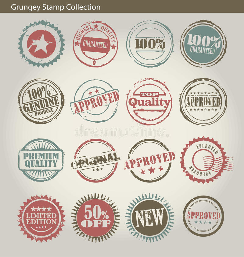 Circular stamp collection royalty free illustration
