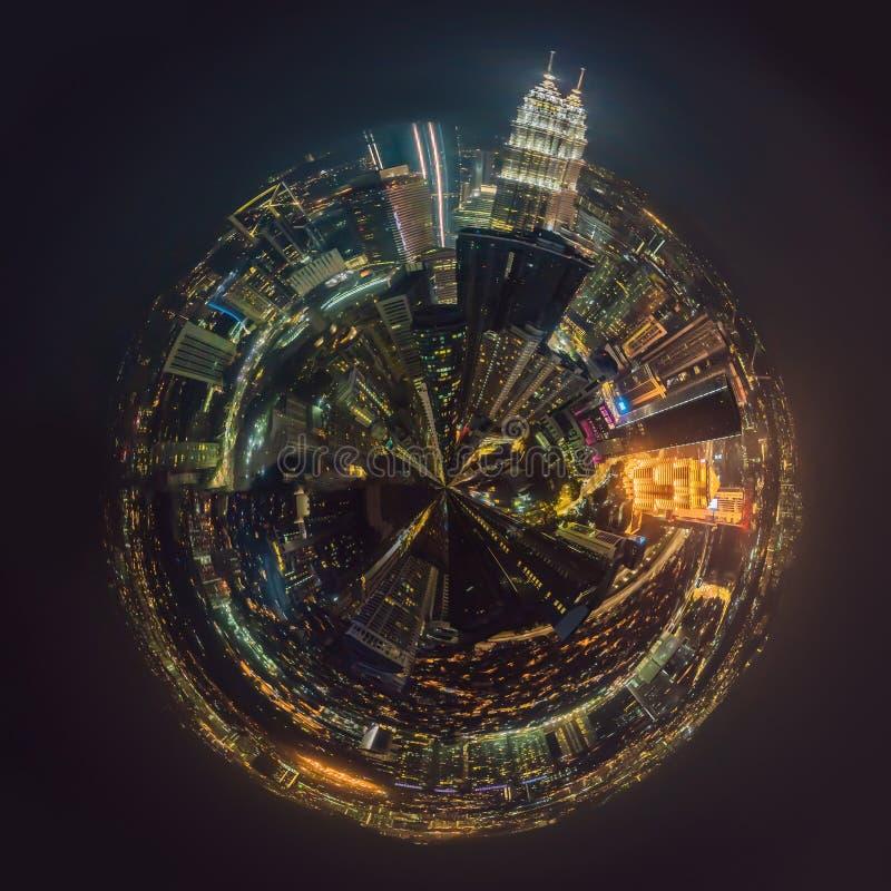 Circular, Stereographic, Polar panorama Kuala lumpur cityscape. Panoramic view of Kuala Lumpur city skyline at night royalty free stock photos