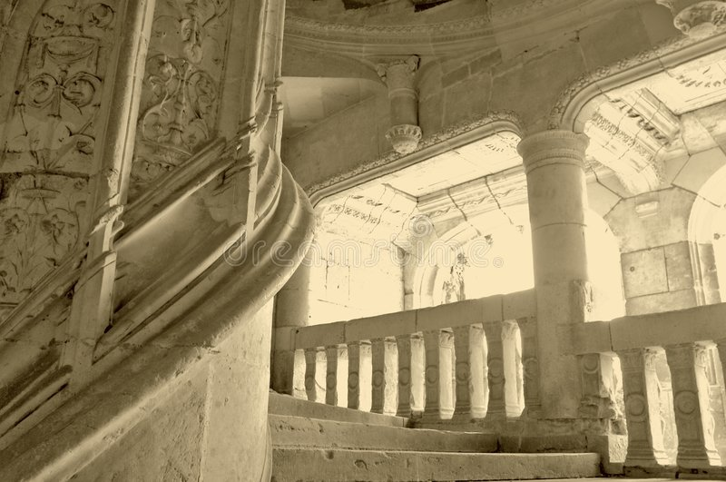 The circular stone stairway. In the Chatoudun castle, France royalty free stock images