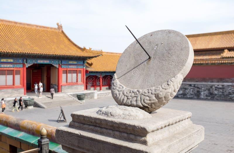 Circular stone sundial. In Forbidden City, Beijing stock images