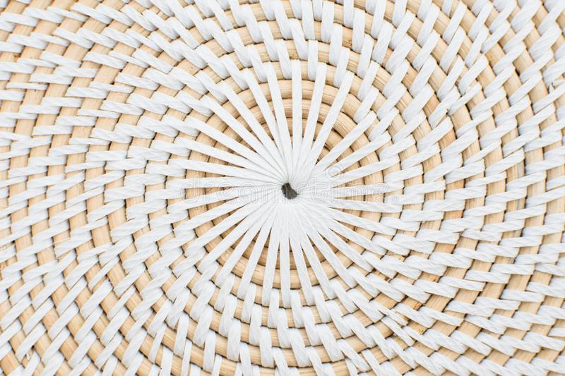 Circular straw surface. Close up view of the circular straw surface. Circular white shapes. Textured surface with circles royalty free stock image