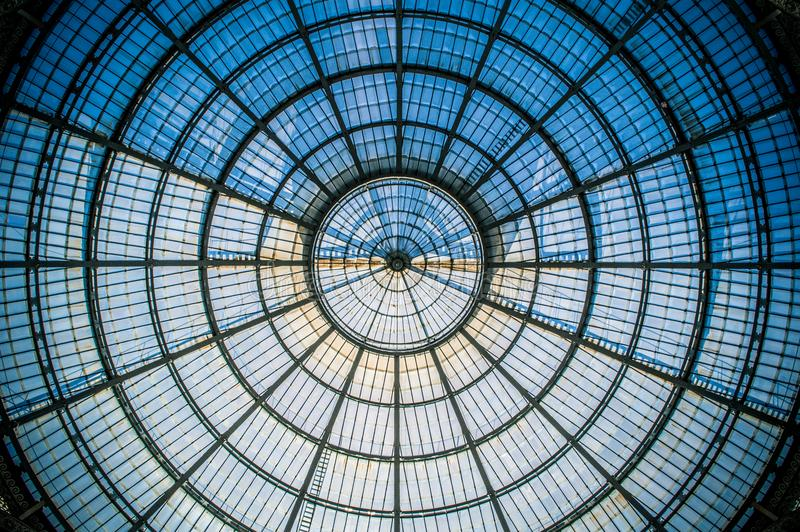Circular symmetry of the glass dome in Milan IV royalty free stock photography