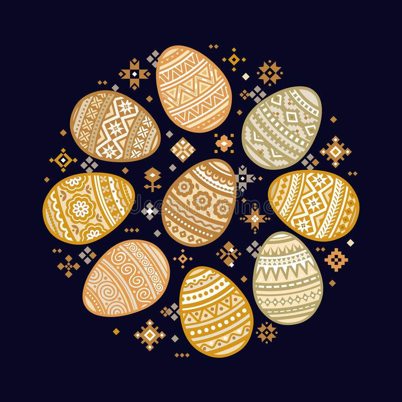 The circular template of colorful Easter egg vector flat icons painted in traditional style. royalty free illustration