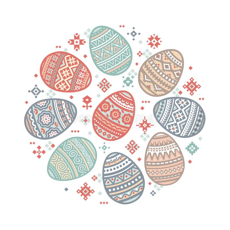 The circular template of colorful Easter egg vector flat icons painted in traditional style. stock illustration