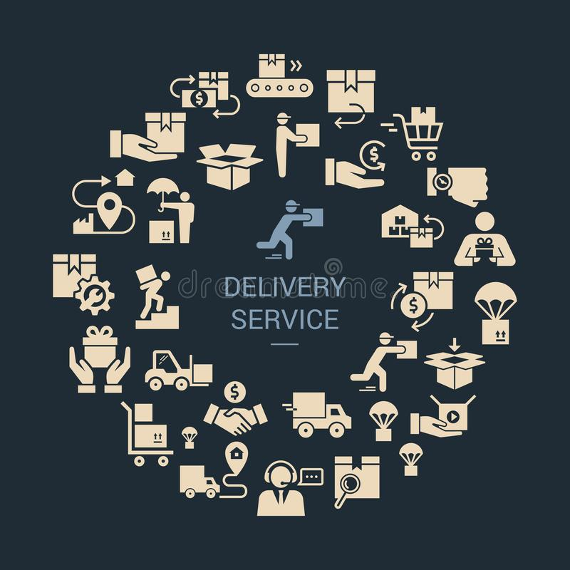 Circular template delivery logistic set in flat style. Vector icons for web, infographic or print. stock illustration
