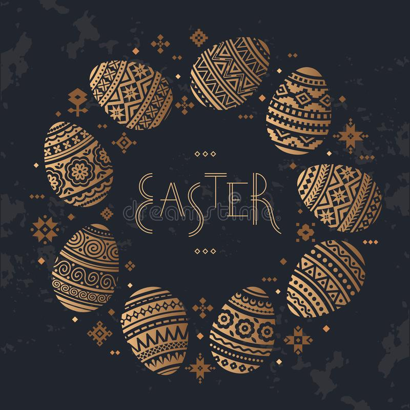 The circular template of Easter egg vector flat icons painted in traditional style. royalty free illustration