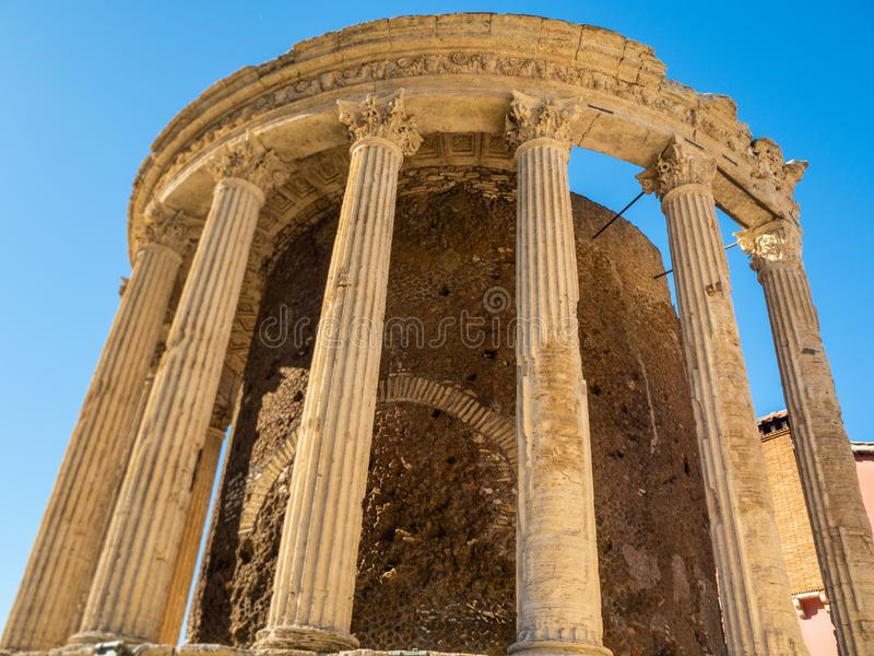 Circular Temple or Vesta on the banks of the river Aniene in Tivoli, Italy stock photography