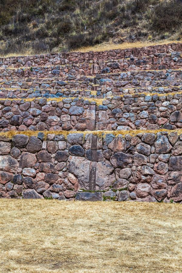 Circular terraces of Moray. Possibly an Inca agricultural laboratory, in summer with dry and yellow vegetation royalty free stock photos