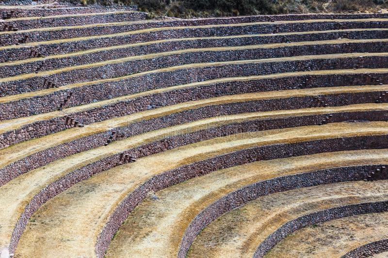Circular terraces of Moray. Possibly an Inca agricultural laboratory, in summer with dry and yellow vegetation stock photos