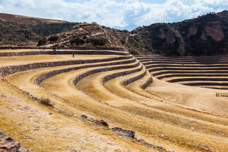 Circular terraces of Moray. Possibly an Inca agricultural laboratory, in summer with dry and yellow vegetation stock photo