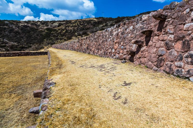 Circular terraces of Moray. Possibly an Inca agricultural laboratory, in summer with dry and yellow vegetation stock photography