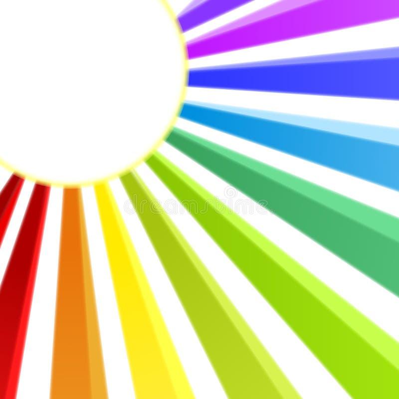 Rainbow Rays Sun Round Frame royalty free illustration
