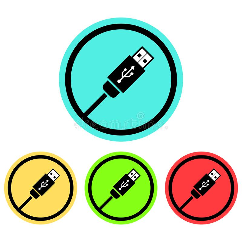 Circular USB cable icon. Isolated on white. Four colours bright stock illustration