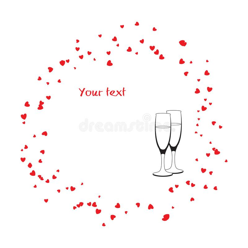 Circular vector frame with hearts shapes and champaine glasses. Valentine concept royalty free illustration