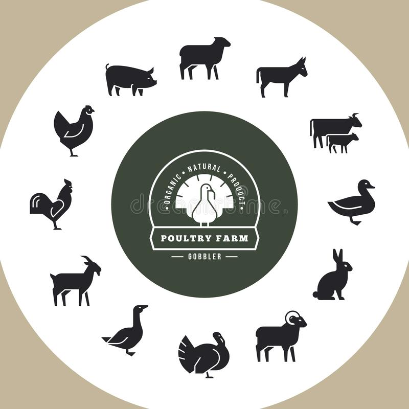Circular concept of farm animals. With place for text. royalty free illustration
