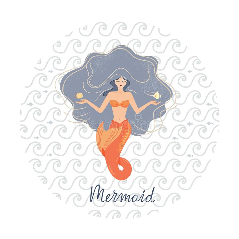 Circular vector illustration of a meditating mermaid with flowing hair at the bottom of the ocean with shells in her hands stock illustration